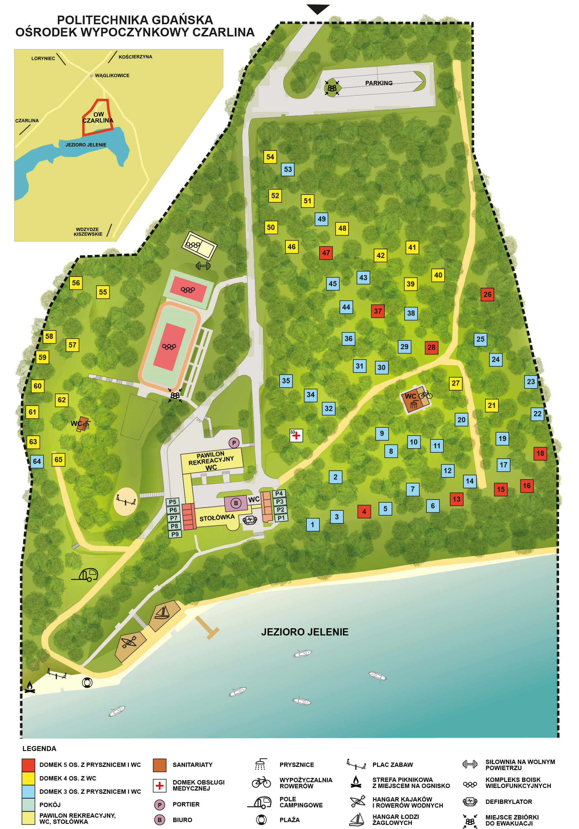 Mapa ośrodka z lokalizacją domków i atrakcji