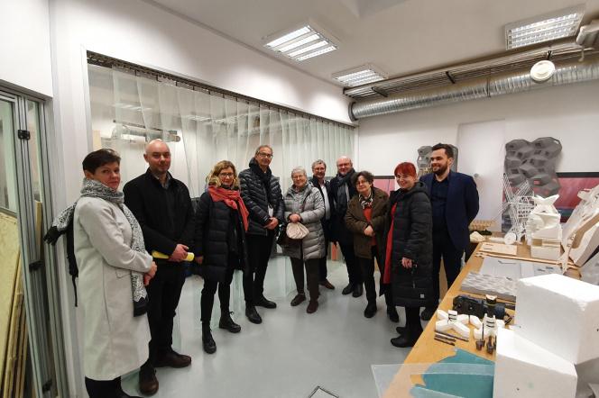 Przedstawiciele Wydziału Architektury PG i Komisji Akredytacyjnej w jednym z laboratoriów wydziałowych