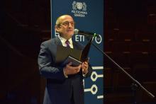 Głos zabrał także absolwent ETI Georgis Bogdanis. Fot. Krzysztof Krzempek / Politechnika Gdańska