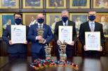 Na zdjęciu od lewej: Kazimierz Rozwadowski, z-ca dyrektora CSA, prof. Krzysztof Wilde, rektor PG, Krzysztof Kaszuba, dyrektor CSA oraz oraz Andrzej Bussler, prezes zarządu AZS. Fot Krzysztof Krzempek/PG