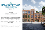 Na zdjęciu znajduje się dyplom uzyskany przez laureatkę konkursu Karolinę Jankowską oraz wysoki budynek z dużą ilością okien