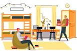 grafika przedstawiająca dwóch studentów w pokoju w akademiku. Jeden siedzi w fotelu i czyta książkę, drugi wchodzi do pokoju niosąc stos książek
