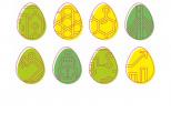 grafika przedstawia osiem jajek wielkanocnych w kolorze żółtym i dwóch odcieniach zieleni z logotypami poszczególnych wydziałów