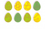 graphics - eight eggs (3 yellow and 5 green) with logotypes of faculties of GUT
