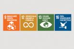 Grafika przedstawia logotypy 4 celów zrównoważonego rozwoju