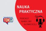 szaro-czerwona grafika z logiem TOK FM i napisem NAUKA PRAKTYCZNA podcast Karoliny Głowackiej