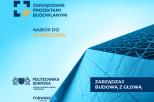 grafika  przedstawiająca fragment nowoczesnego budynku w odcieniach niebieskiego, nazwa kierunku i logo uczelni