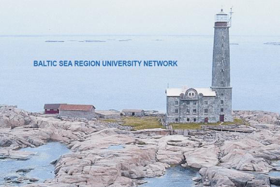 zdjęcie przedstawia latarnię morską. Napis: Baltic Sea Region University Networks