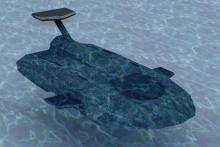Wizja docelowa podwodnej platformy typu AUV-Stealth. Źródło: M.K. Gerigk, Zakład Mechaniki i Obiektów Bezzałogowych, Instytut Mechaniki i Konstrukcji Maszyn, WIMiO PG, 2018-2020