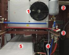 Widok na układ powietrznej pompy ciepła zintegrowanej z centrala wentylacyjno-klimatyzacyjną: 1.Powietrzna pompa ciepła, 2. Zbiornik wyrównawczy w układzie rozdziału czynnika roboczego, 3. Układ rozdziału czynnika roboczego, 4. Wlot czynnika roboczego do centrali wentylacyjno-klimatyzacyjnej , 5. Centrala wentylacyjno-klimatyzacyjna