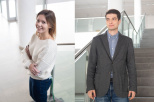 The photo shows MSc. Małgorzata Nadolska dressed in a white sweater and navy blue jeans. She is standing with folded hands by the stairs. The second combined photo shows MSc. Bartosz Trawiński dressed in a blue shirt, gray jacket and blue jeans. They are both smiling.